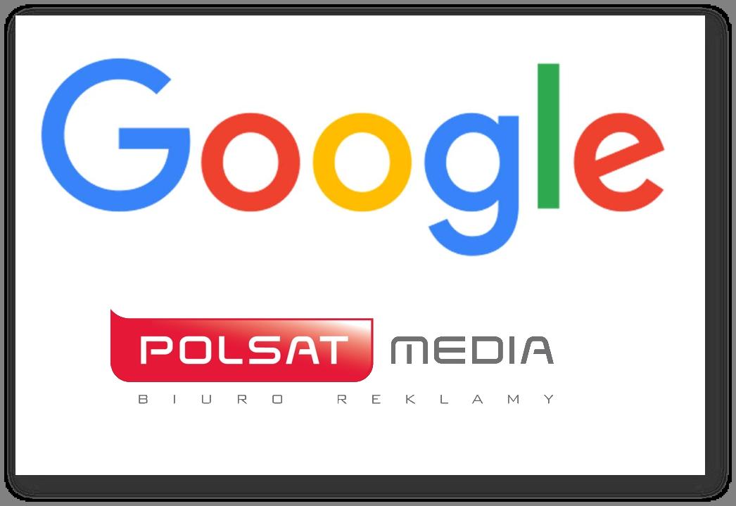 Google logo oraz Polsat media logo